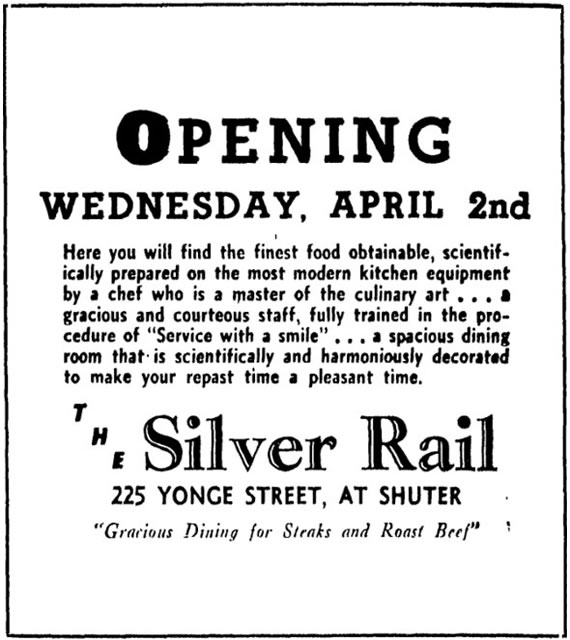 Notice of opening for the Silver Rail