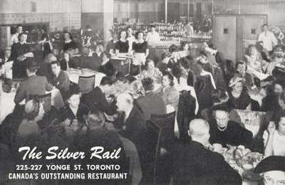 Postcard featuring a black-and-white photo of the Silver Rail